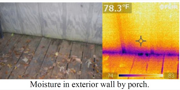 Moisture in exterior wall by porch